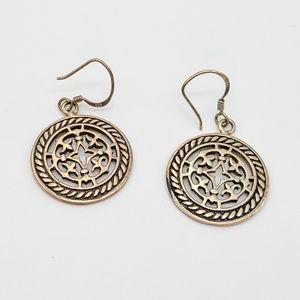 Sterling silver 925 Celtic folk art drop earrings